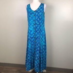TROPICAL EARTHTONES Sleeveless Maxi MuMu Dress
